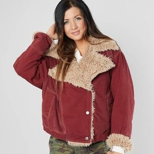 NWT! Free People Owen Sherpa Jacket Wine Color